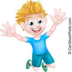 fiú, karikatúra, boldog