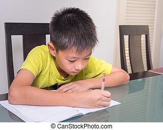 fiú, kevés, övé, tanulás, ázsia, asztal, diák, lecke, otthon, oktatás, otthon