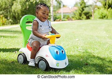fiú, kevés, amerikai, afrikai, csecsemő, imádnivaló, játék