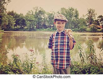 fiú, kevés, fából való, lengyel, halászat, tavacska