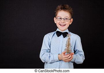 fiú, kevés, fa, karácsony