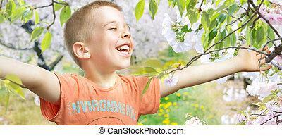 fiú, kevés, gyalogló, gyümölcsöskert, portré