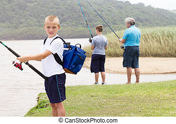 fiú, kevés, halászat, család, boldog