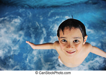 fiú, kevés, pocsolya, úszás