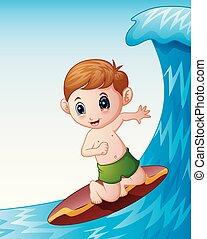 fiú, kevés, szörfdeszka, játék, tenger, karikatúra