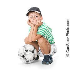 fiú, kitart futball labda