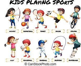 fiú lány, játék, sport