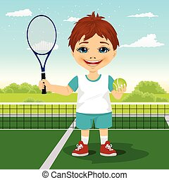 fiú, labda, bíróság, tenisz, fiatal, lárma, mosolygós