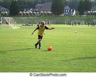 fiú, labda, field., rúgás