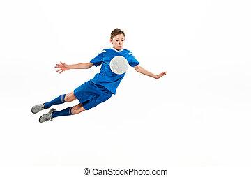 fiú, labda, repülés, fiatal, futball, megrúg