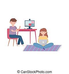 fiú, laptop computer, gyűlés, leány, otthon, online, használ, megállít