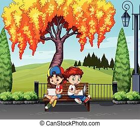 fiú, leány, alatt, fa, ülés
