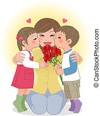 fiú, leány, anyu, csókolózás
