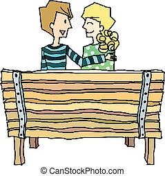 fiú, leány, bírói szék, ülés