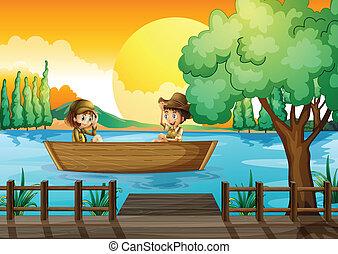 fiú, leány, csónakázik