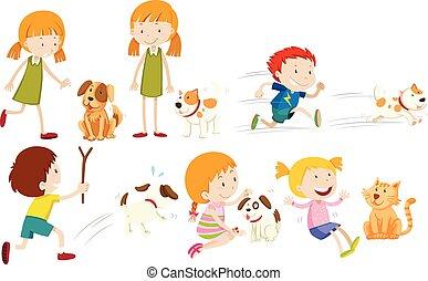 fiú, leány, kutya, játék