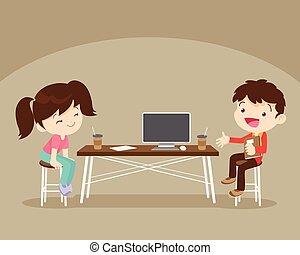 fiú, leány, munka, asztal, ülés