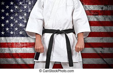 fiú, lobogó, kimonó, amerikai