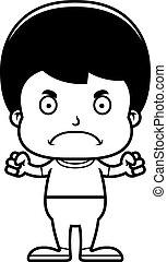 fiú, mérges, karikatúra