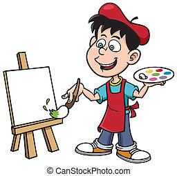 fiú, művész