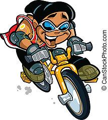 fiú, mosolygós, bicikli elnyomott