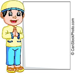 fiú, muzulmán, aláír, birtok, tiszta, karikatúra, boldog