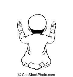 fiú, muzulmán, -vector, ábra, kéz, húzott, imádkozás, karikatúra