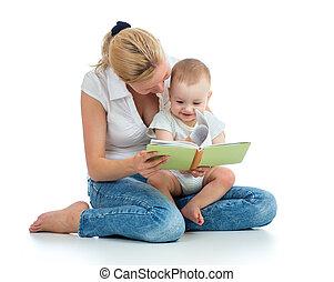 fiú, neki, könyv, anya, csecsemő, felolvasás