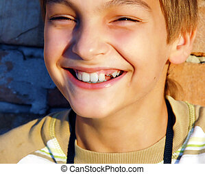fiú, nevető, portré