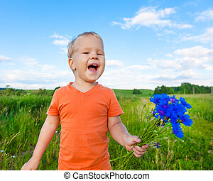 fiú, noha, cornflowers