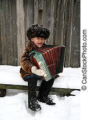 fiú, noha, harmonika, alatt, hóesés