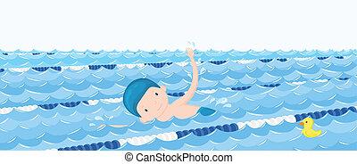 fiú, pocsolya, ábra, vektor, karikatúra, úszás