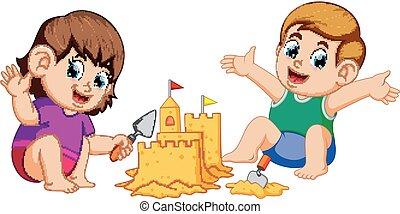 fiú, sandcastle, nagy, gyártás, leány, tengerpart
