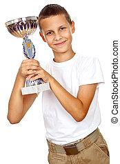 fiú, sport, hatalom csésze