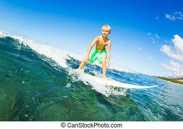 fiú, szörfözás, óceán lenget
