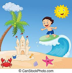 fiú, szörfözás, karikatúra, boldog