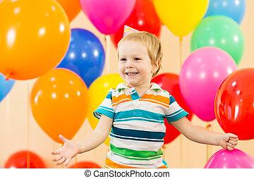 fiú, születésnap, vidám, kölyök, fél