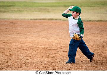 fiú, szokás, baseball, eldob, közben