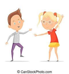 fiú, tánc, gyerekek, mozgató, leány, vagy, karikatúra