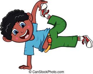fiú, tánc, karikatúra, noha, úszó, póz