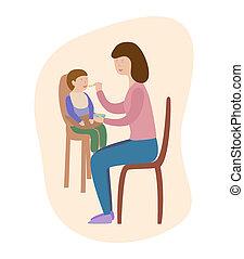 fiú, táplálás, spoon., ábra, anya, csecsemő