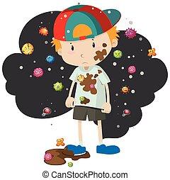 fiú, tele, baktérium, koszos