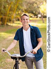 fiú, tizenéves, bicikli, fiatal
