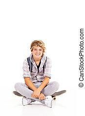 fiú, tizenéves, boldog, gördeszka, ülés