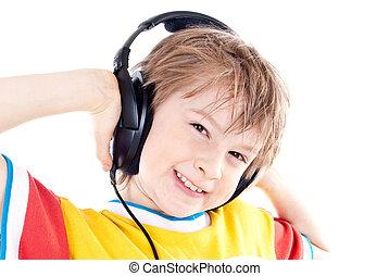 fiú, tizenéves, fejhallgató, boldog, portré
