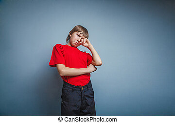 fiú, tizenéves, tizenkettő, év, piros, alatt, póló, kéz,...
