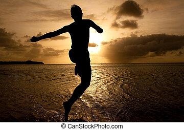 fiú, ugrás, árnykép, napnyugta, tenger