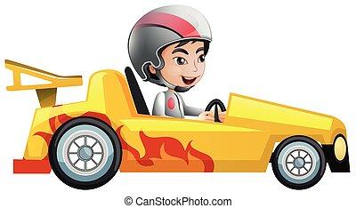 fiú, versenyzés, sárga autó