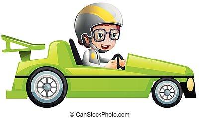 fiú, versenyzés, zöld autó