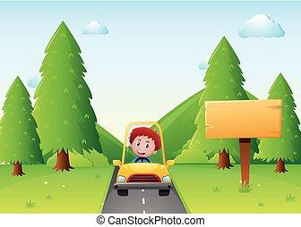 fiú, vezetés, sárga autó, az úton